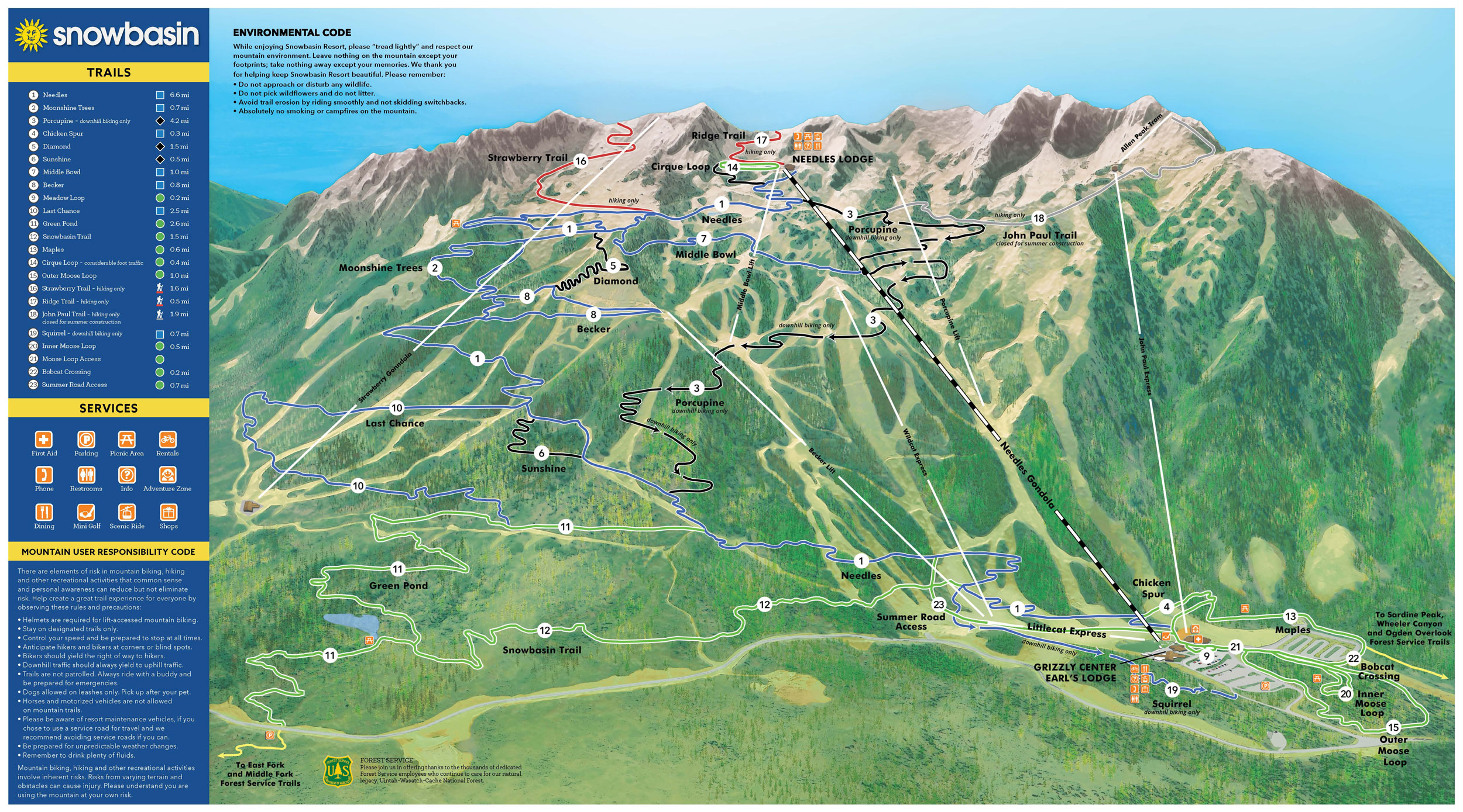 Snowbasin Summer 2019 Trail map